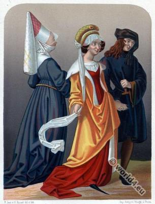 Medieval Flanders Burgundy costumes. Israel van Meckeln. Gothic fashion period.