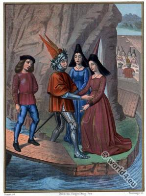 France medieval costumes. 15th century fashion. Hennin. Gothic, burgundy dresses