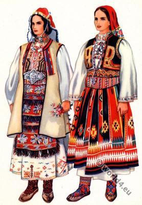 Serbian national costumes. Balkans folk dresses.