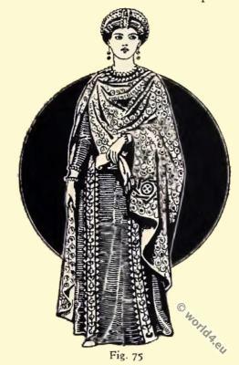 Byzantine Costume History. Lady Antonina. Mosaics in St. Vitale in Ravenna