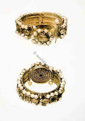 Ancient Roman Jewlery. Bracelets with Jewels.