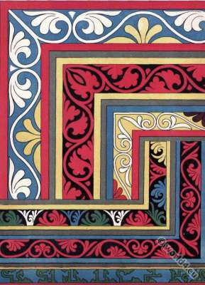 Byzantine ornaments. Byzantine art 9th century. Middle ages Ornament