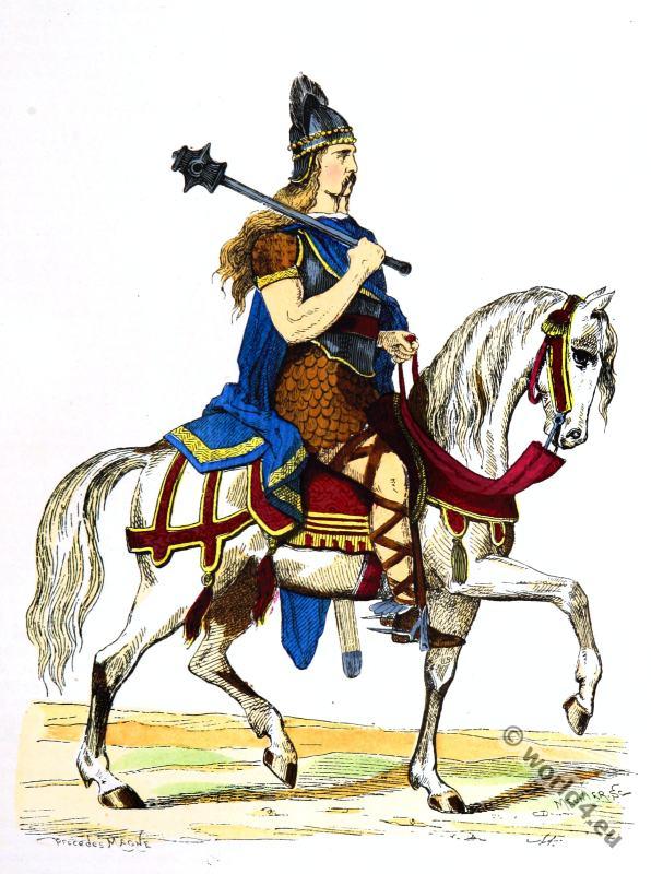 Salian Frankish Costume History. 5th century costume. Merovingian king