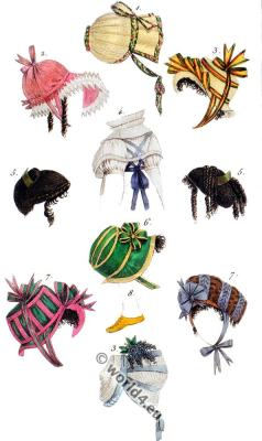 Regency headdresses. French First Empire fashion. Costume Parisien