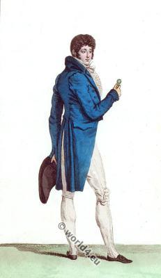 Half Dressed costume. Regency era menswear. France empire fashion