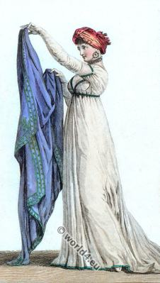 Fancy turban. Filled Twists dress. Regency fashion. First Empire dress. Georgian era