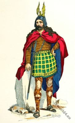 Gallic chieftain costumes. 4th century clothing. Roman-Gallic wars.