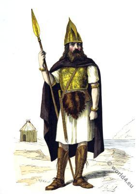 Gallic warrior. Gaul dress. Gaulish soldier costume.