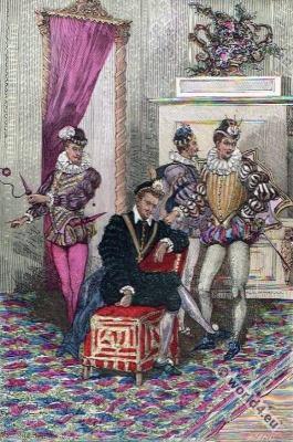 Henri III. Renaissance fashion. 16th century costumes