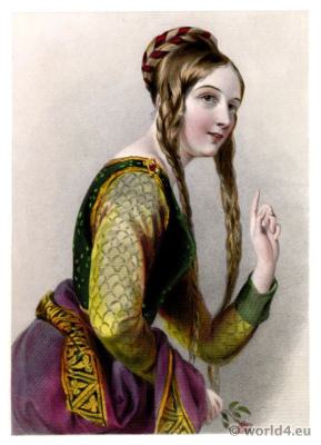 Éléonore d'Aquitaine. Eleanor of Aquitaine. medieval Englandl Queen. Middle ages costumes, 12th century fashion