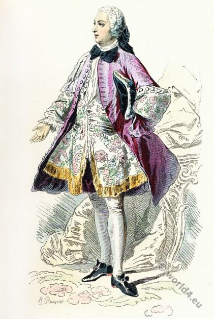 Paris Fashion,  Louis XV. Rococo costumes, 18th century clothing, allonge wig