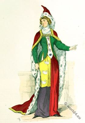 Noble Lady 14th century costume.  Burgundian fashion. Gothic dress
