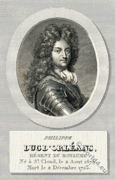 Philippe II. de Bourbon, duc d'Orléans. The Regency, Allonge wig, 18th century, nobility