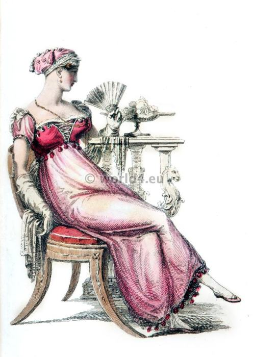 Ball dresses. Regency Costumes. France First empire fashion. Napoleonic costume period.