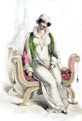 Morning dresses. Regency Costumes. France First empire fashion. Napoleonic costume period.