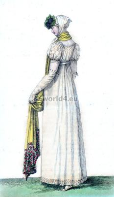 Costume Parisien. Touffes de Violettes. Robe Ronde. Regency Costumes. France First empire fashion.