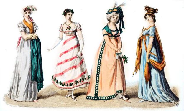 Reign of Napoleon I. Regency Costume History. Georgian costumes. Empire fashion.