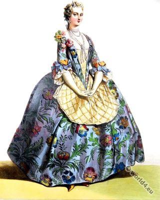 Rococo costumes. Louis XV. fashion era. Farthingale.