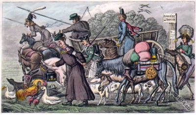 Paris after Waterloo. Romantic era fashion. Regency costumes. Satirical 19th century.