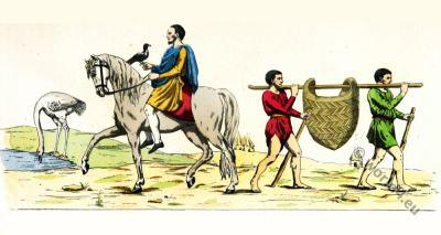 Carolingian Lord, Slave, Servants costumes. 7th century clothing