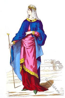 Carolingian, costume history, Middle ages, 8th century clothing