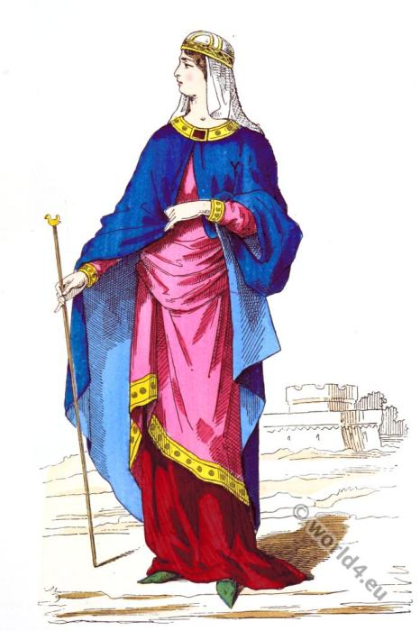 Noble woman dress, Carolingian, costume, history, Middle ages, 9th century clothing