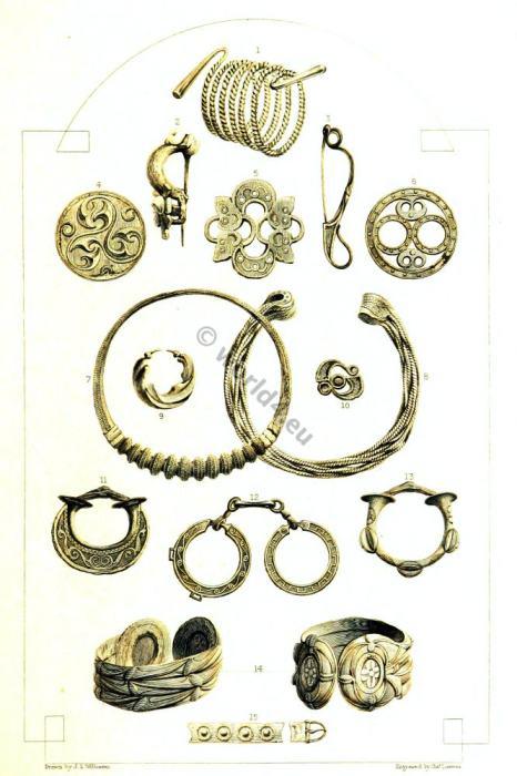 Celtic relics. British history. Celt culture. Celtic Bronze Bracelets. Celtic Fibula. Celtic Gold Ear-ring. Celtic Gold Torque