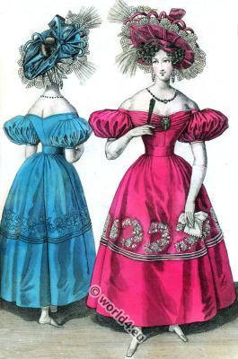 Romantic Gauze dresses. Bonnets. Romantic era costumes. Biedermeier fashion.