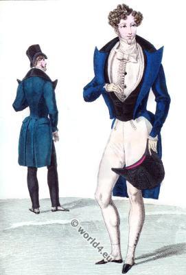Romantic menswear. Romantic era costumes. Biedermeier fashion