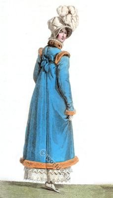 Regency costumes. Costume Parisien. Empire fashion, Restoration.