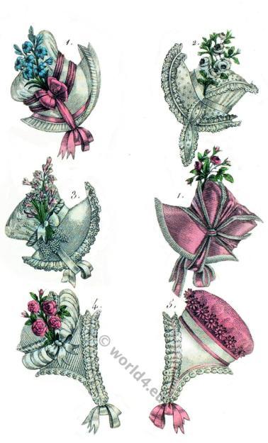Naples hat. Romantic fashion, hats. Biedermeier fashion. Restoration, empire.