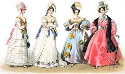 Restoration,fashion history, Leg-of-mutton sleeves, Bonnets, 19th century costumes