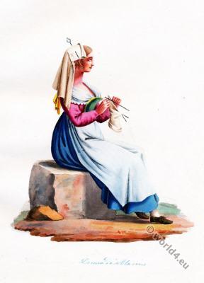 Marino folk dress. Italy national costumes. Costumes of Rome.