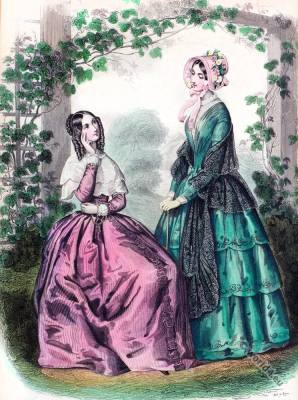 Summer mantles. Knitted dresses. Romantic Era, Crinolines Victorian fashion period.
