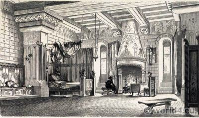 12th century, castle, bedroom, Middle ages, furnishings, Medieval, interior,