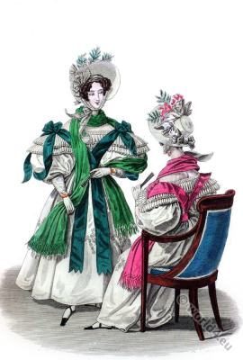 Bonnets. Romantic era costumes. Biedermeier fashion.