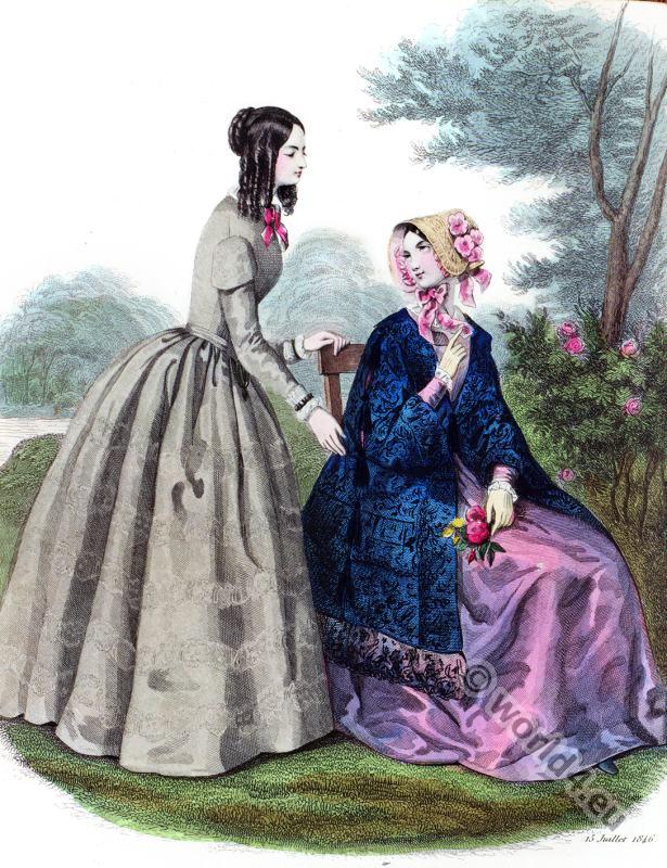 Romantic era costumes. Biedermeier mode. Restoration fashion