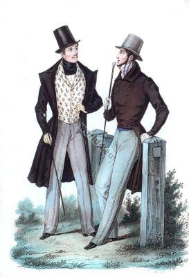 Redingote à collet de Velours. Romantic era costumes. Biedermeier fashion.