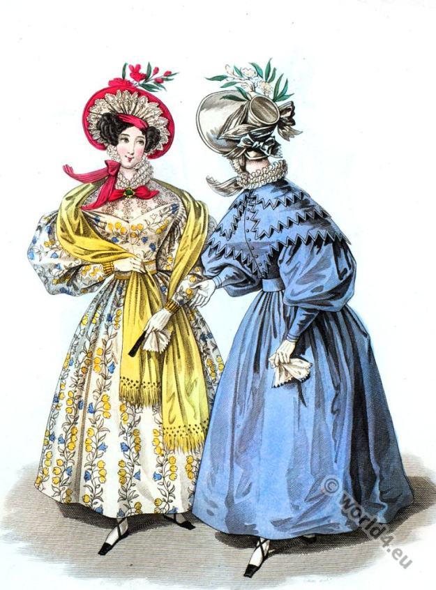 Naples dress. Romantic, fashion, costumes, headdresses, regency, Victorian