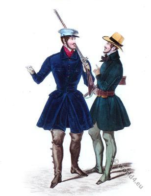Velvet breeches, Straw hat. Romantic era costumes. Biedermeier fashion.