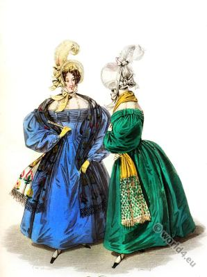 Swiss Chemisssette chiffon. Bonnets. Romantic era costumes. Biedermeier fashion.