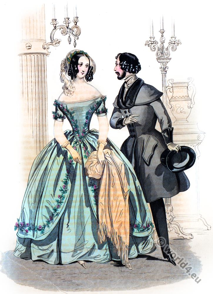 Crepe Dress By Jacques Delisle Romantic Era 1840