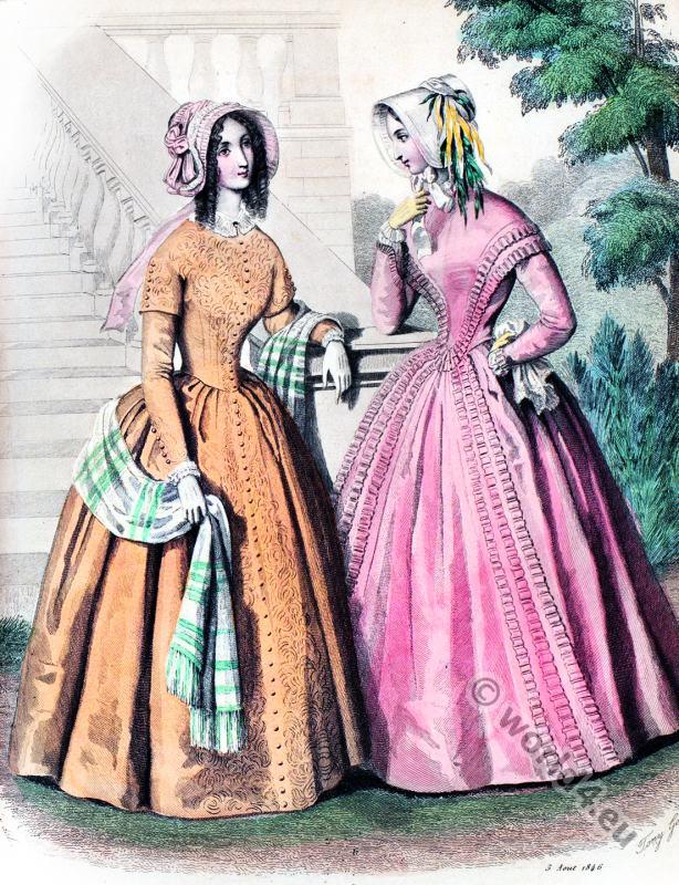 Dress Fabrics. Romantic era costumes. Biedermeier fashion.