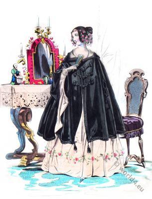 Knitted dress. Romantic era fashion. Biedermeier costume