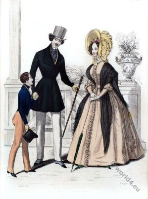 Romantic era costumes. Restoration fashion. Biedermeier dresses