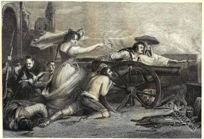 Agustina de Aragón. Agostina of Zaragoza. Childe Harold's Pilgrimage by Lord Byron.