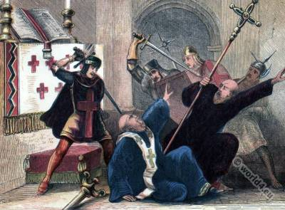 Thomas Becket assassination scene. Medieval costumes.
