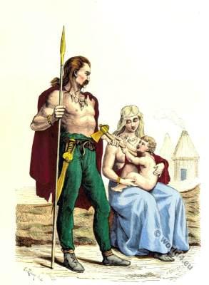 Ancient Gaul familie clothing. Roman gauls costumes. Gallic dresses.
