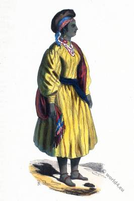 Africa. Girl Socknanaise. Historical clothing.