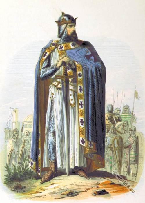 Godfrey of Bouillon, Crusader, Knight, King of Jerusalem, 11th century, military costumes, Chivalry,